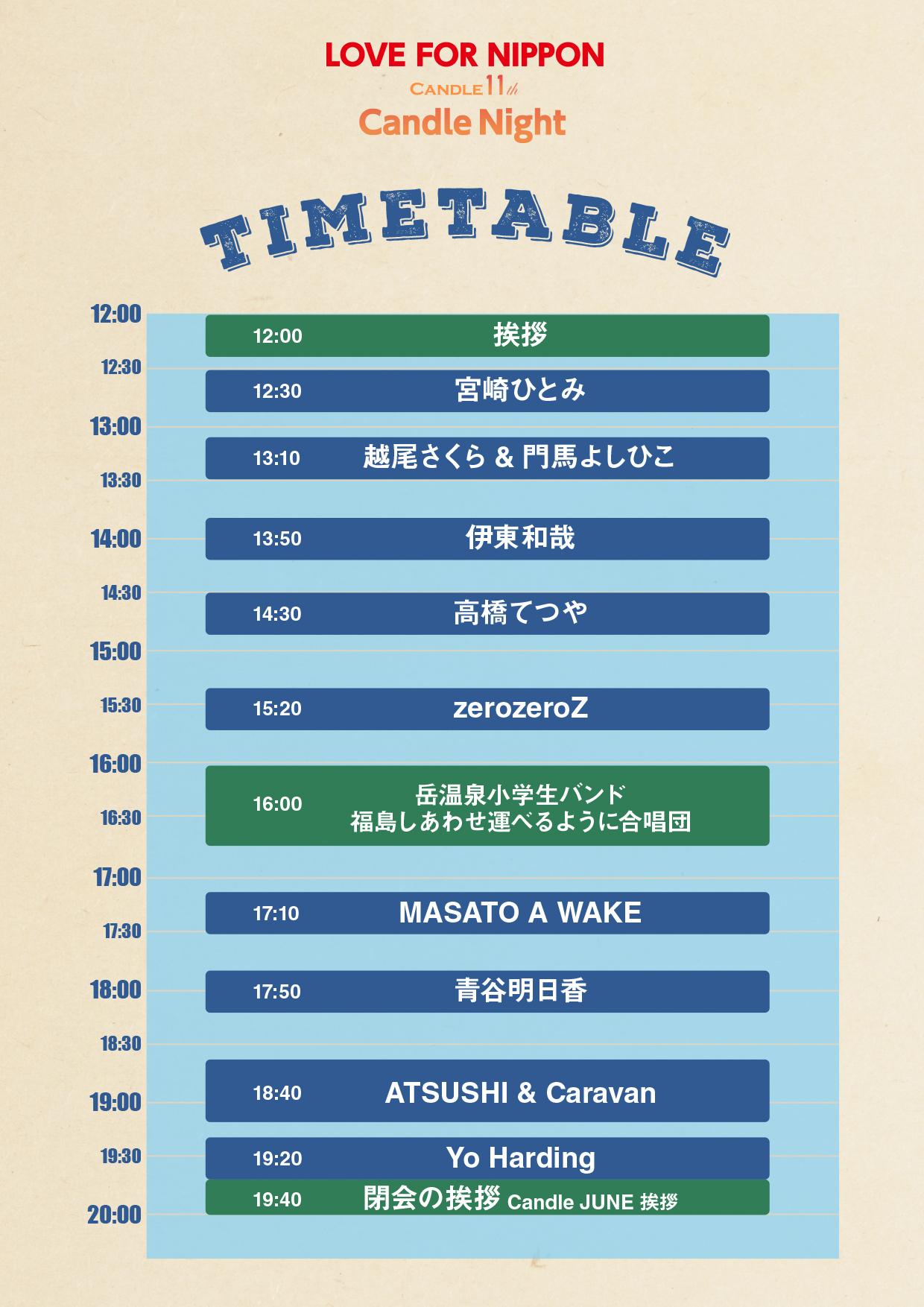 6月11日開催 <Candle 11th presents> キャンドルナイト@岳温泉(福島県)タイムテーブル発表!